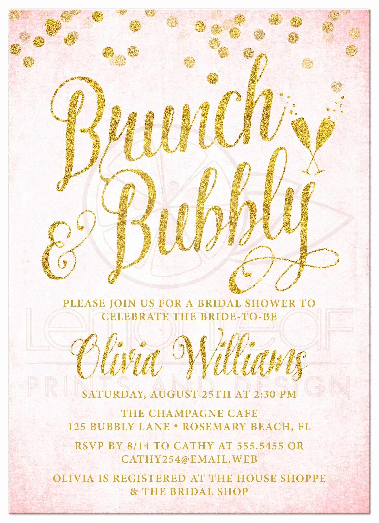 Bridal Brunch Invitation Wording New Pink & Gold Brunch & Bubbly Bridal Shower Invitations