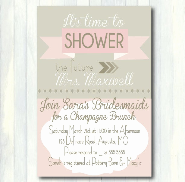 Bridal Brunch Invitation Wording New Pink and Gray Bridal Shower Invitation Printable Wedding