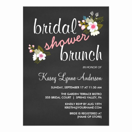 "Bridal Brunch Invitation Wording Unique Chalkboard Floral Bridal Shower Brunch Invites 4 5"" X 6 25"
