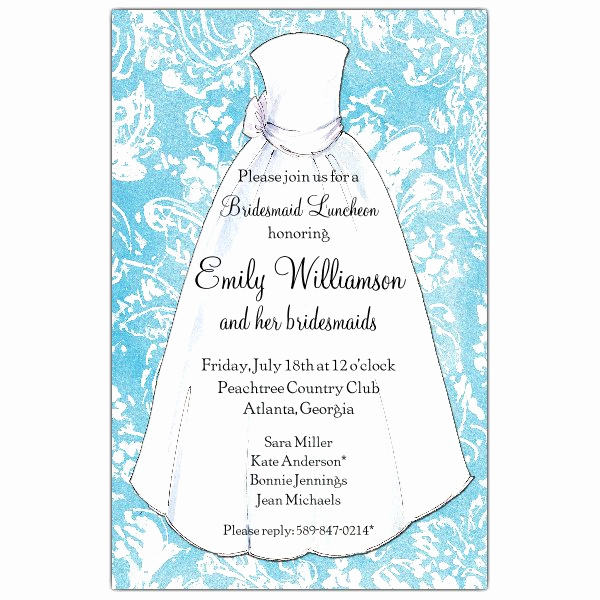 Bridal Brunch Invitation Wording Unique Turquoise Damask Bridesmaids Luncheon Invitations