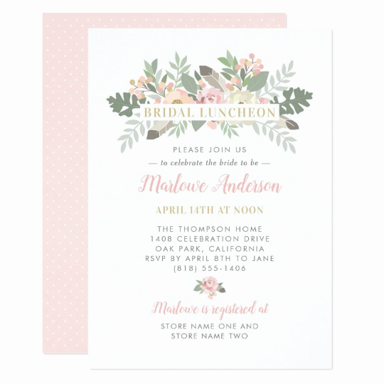 Bridal Luncheon Invitation Wording Best Of Pink Spring Vintage Boho Floral Bridal Luncheon Invitation