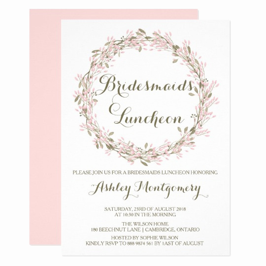 Bridal Luncheon Invitation Wording Elegant Blush Winter Wreath Bridesmaids Luncheon Invite