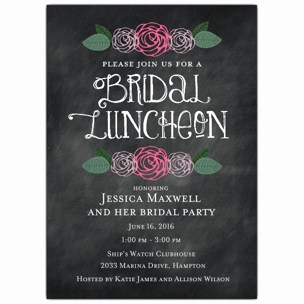 Bridal Luncheon Invitation Wording Fresh Floral Chalk Bridal Luncheon Invitations