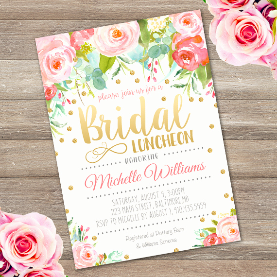 Bridal Luncheon Invitation Wording Luxury Bridal Luncheon Invitation Template Edit with Adobe