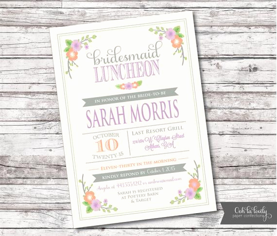 Bridal Luncheon Invitation Wording Luxury Bridal Shower Invitation Bridal Luncheon Invitation Floral