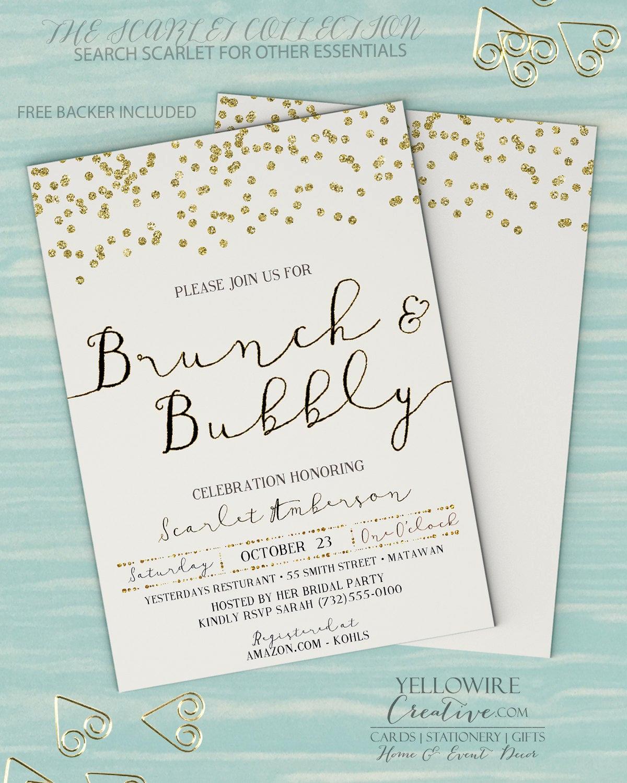 Bridal Shower Brunch Invitation Awesome Brunch and Bubbly Invitation Bridal Brunch Invitation