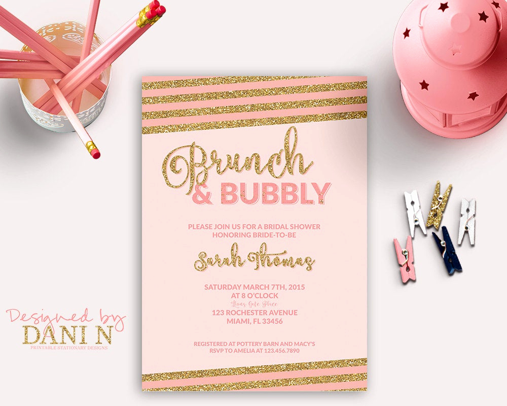 Bridal Shower Brunch Invitation New Bridal Shower Invitation Brunch & Bubbly Bridal Shower