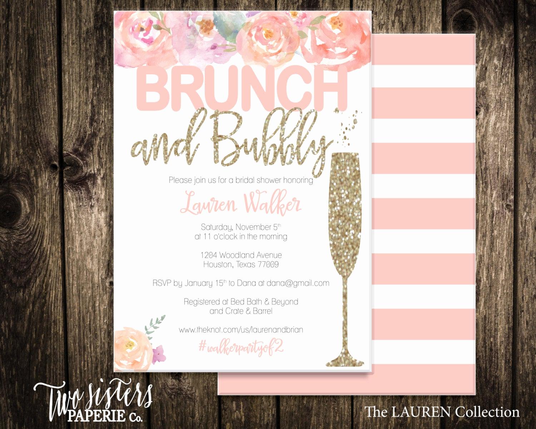 Bridal Shower Brunch Invitation New Floral Brunch and Bubbly Bridal Shower Invitation Lauren