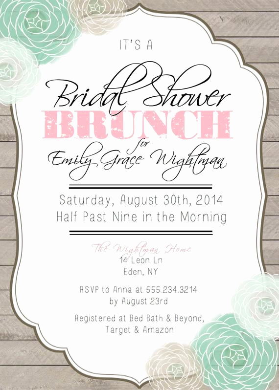 Bridal Shower Brunch Invitation Wording Awesome Bridal Shower Brunch Printable Invitation