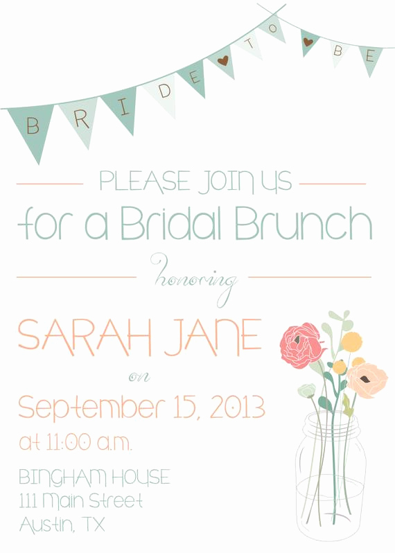 Bridal Shower Brunch Invitation Wording Beautiful Bridal Shower or Bridal Brunch Invitation by Aestheticjourneys