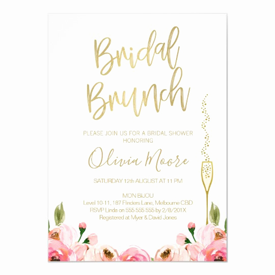 Bridal Shower Brunch Invitation Wording Elegant Floral Bridal Brunch Bridal Shower Invitation