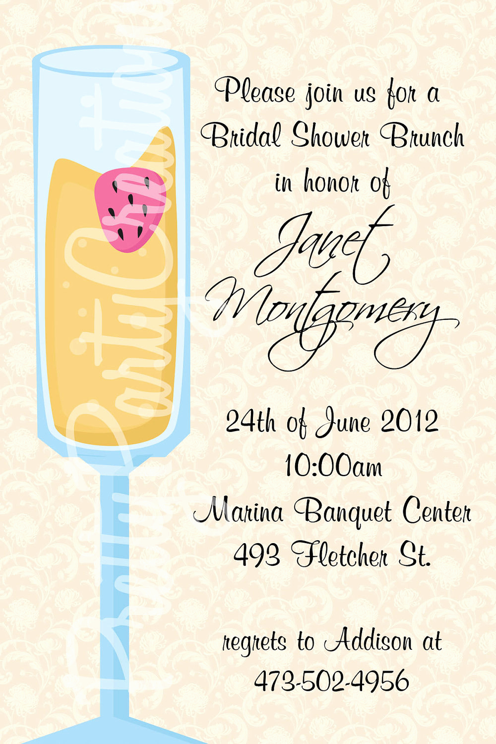 Bridal Shower Brunch Invitation Wording Inspirational Mimosa Bridal Shower Brunch Invitation by Prettypartycreations