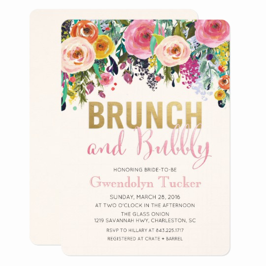 Bridal Shower Brunch Invitation Wording Lovely Brunch and Bubbly Bridal Shower Invitation