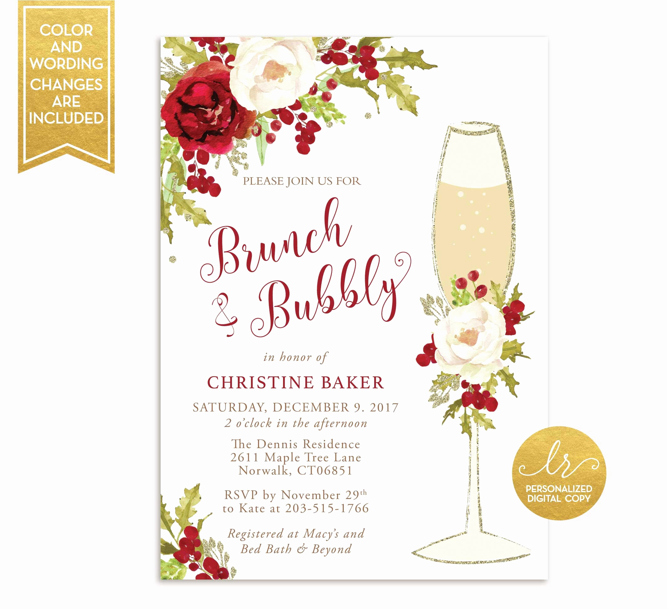 Bridal Shower Brunch Invitation Wording Luxury Winter Brunch and Bubbly Bridal Shower Invitation Holiday