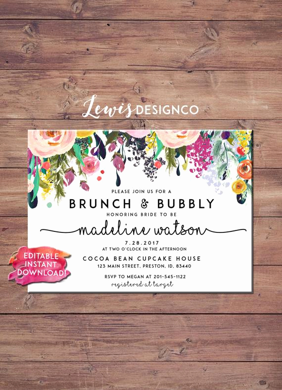 Bridal Shower Brunch Invitation Wording Unique Brunch and Bubbly Floral Bridal Shower Invitation by