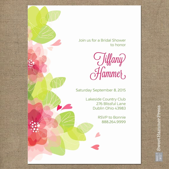 Bridal Shower Invitation Fonts Awesome Floral Bridal Shower Invitation White Background Script Font