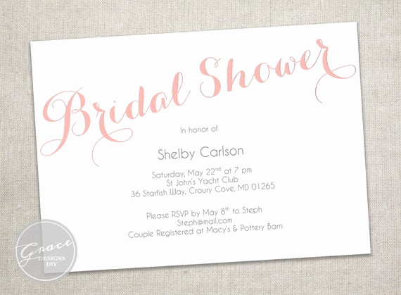 Bridal Shower Invitation Fonts Beautiful Items Similar to Printable Blush Bridal Shower Invitation