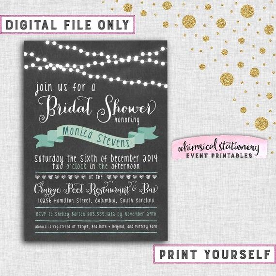"""Bridal Shower Invitation Fonts Elegant Bridal Shower Invitation """"chalkboard Lights"""" Printable"""