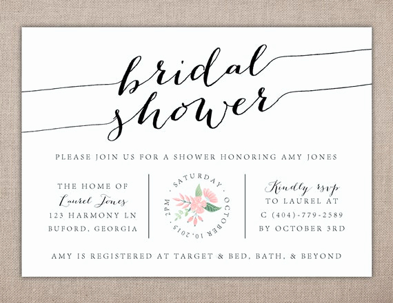 Bridal Shower Invitation Fonts Elegant Bridal Shower Powder Blue Spring Brunch Luncheon Party
