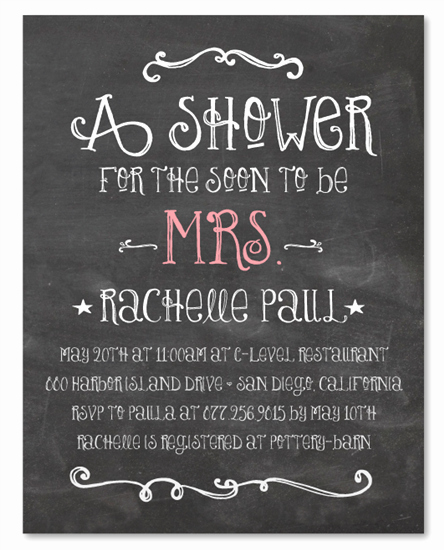 Bridal Shower Invitation Fonts Elegant Chalk Bridal Shower Invitations On Recycled Paper Happy