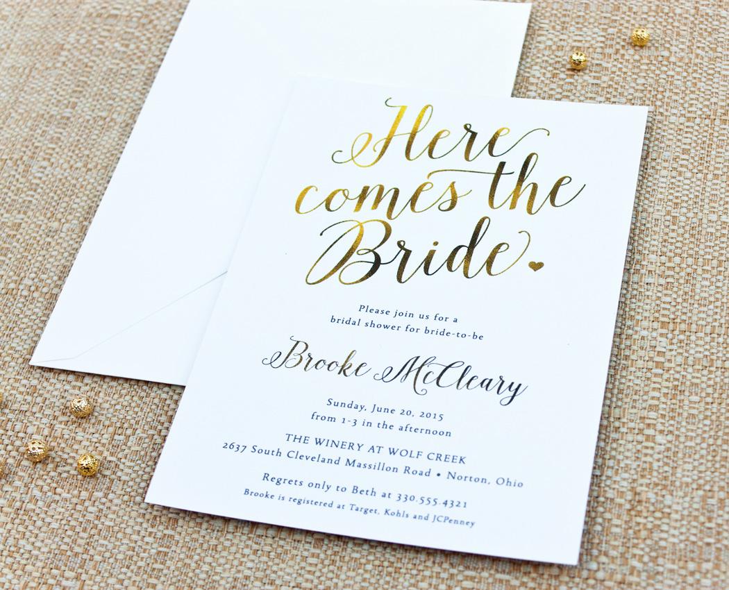 "Bridal Shower Invitation Fonts Fresh ""here Es the Bride"" Calligraphy Bridal Shower Invitation"