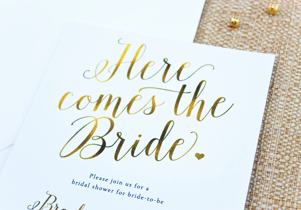 "Bridal Shower Invitation Fonts Fresh ""here Es the Bride"" Calligraphy Bridal Shower Invitation"