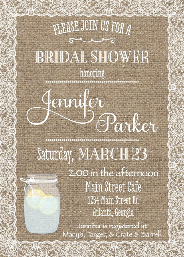 Bridal Shower Invitation Fonts Luxury Burlap & Lace Bridal Shower Invitation Printable