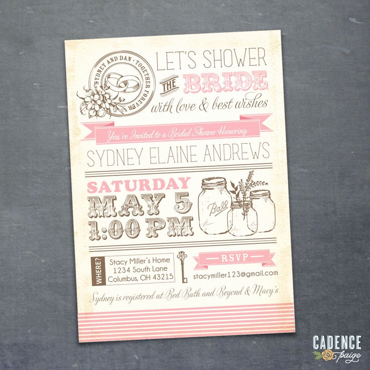 Bridal Shower Invitation Fonts New Vintage Mason Jars Bridal Shower Invitation Diy Printable