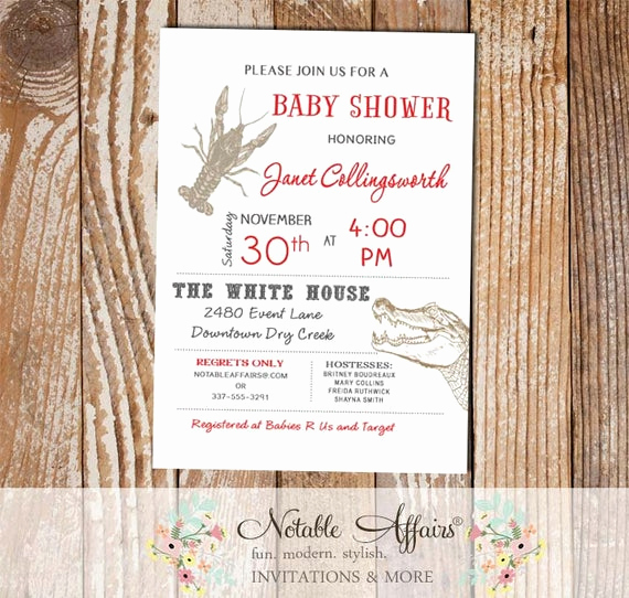 Bridal Shower Invitation Fonts Unique Cajun Style Crawfish Alligator Baby Shower Bridal Shower