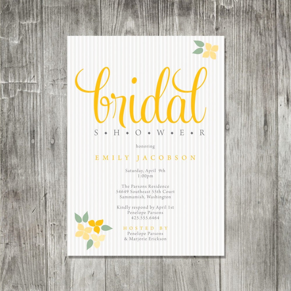 blossom bunches bridal shower invitation