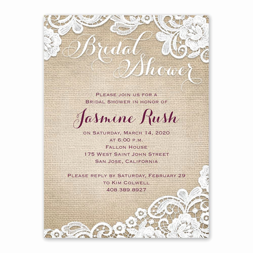 Bridal Shower Invitation Images Elegant Burlap and Lace Bridal Shower Invitation