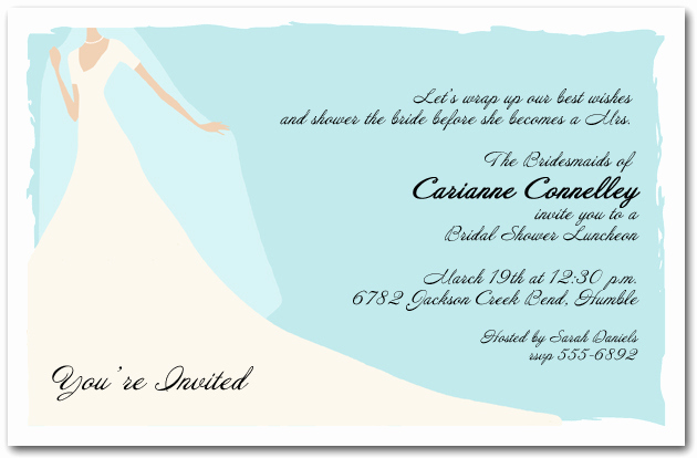 Bridal Shower Invitation Images New Graceful Gown On Blue Bridal Shower Invitation
