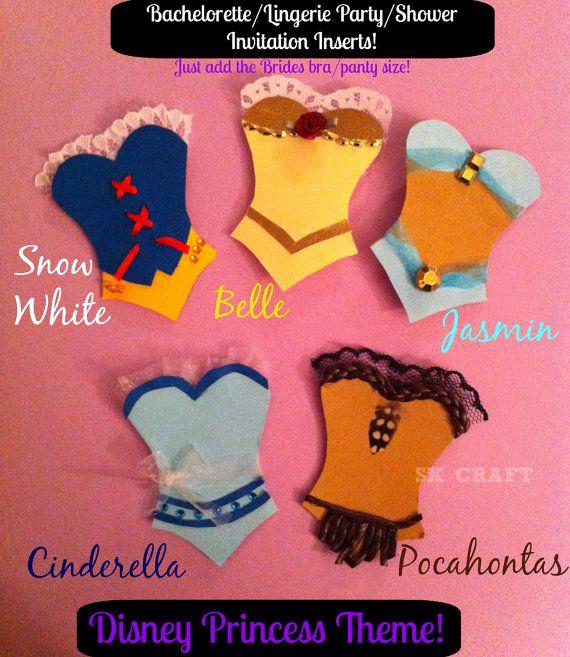 Bridal Shower Invitation Inserts Awesome Disney Princess Bachelorette or Wedding Shower Panty