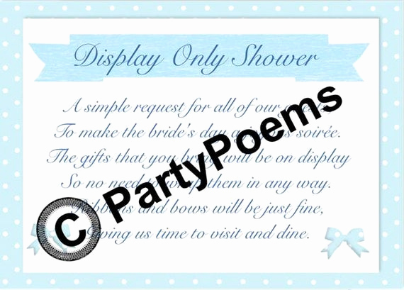 Bridal Shower Invitation Inserts Beautiful Items Similar to Display Bridal Shower Poem Inserts Used