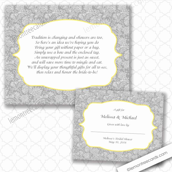 Bridal Shower Invitation Inserts Best Of No Wrap Bridal or Baby Shower Insert and Label by