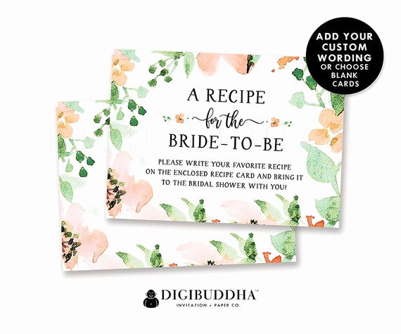 Bridal Shower Invitation Inserts Elegant Floral Bridal Shower Recipe Insert Card Custom Invitation