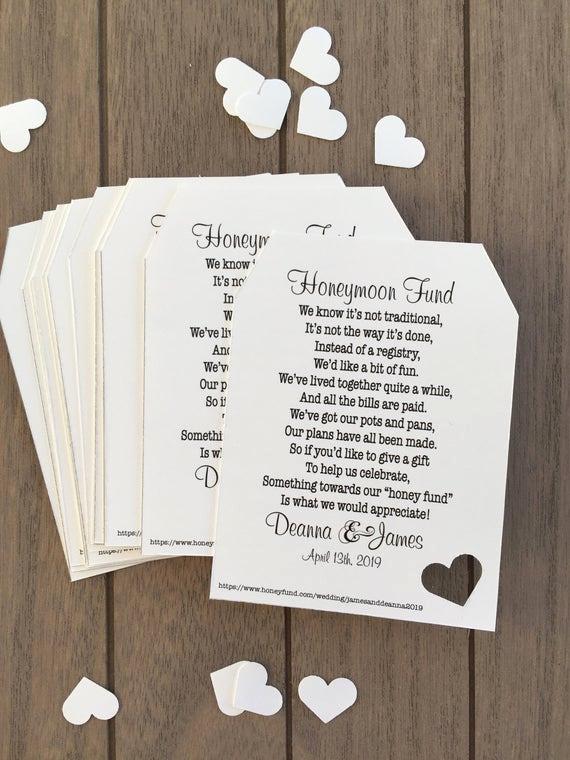 Bridal Shower Invitation Inserts Elegant Honeymoon Fund Invitation Insert for Bridal Shower or