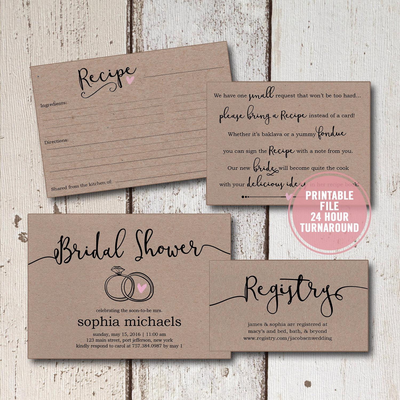 Bridal Shower Invitation Inserts New Bridal Shower Invitation Printable Suite Rustic Wedding