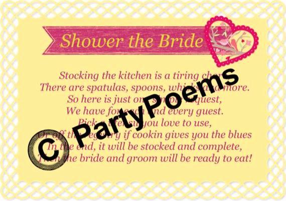 Bridal Shower Invitation Inserts New Kitchen theme Bridal Shower Poem Inserts Used Along by