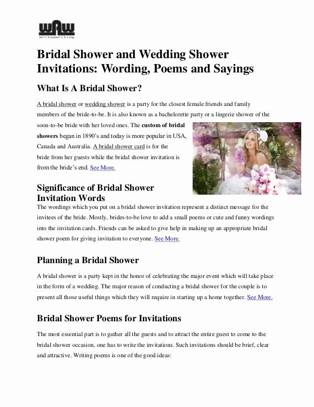 Bridal Shower Invitation Poems Awesome Bridal Shower and Wedding Shower Invitations Wording