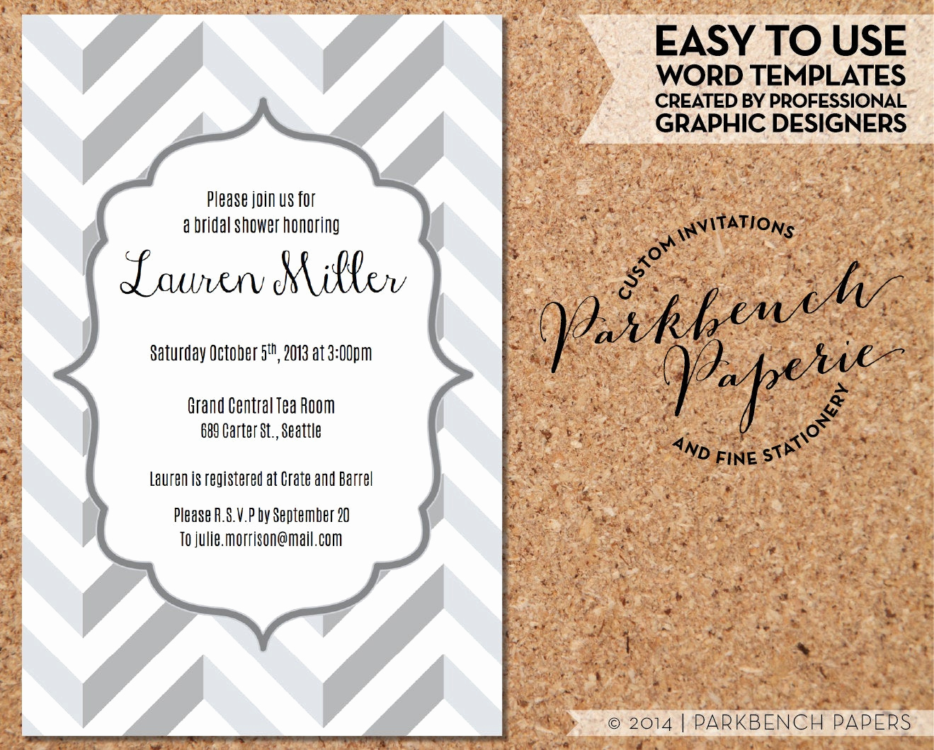Bridal Shower Invitation Template Beautiful Bridal Shower Invitation Gray Chevron Diy Editable Word