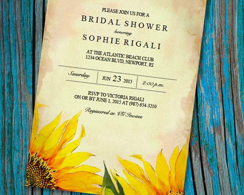 Bridal Shower Invitation Template Beautiful Printable Bridal Shower Invitation Template Vintage Sunflower