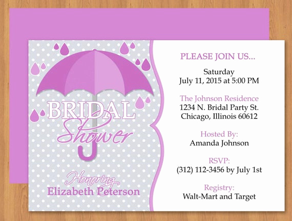 Bridal Shower Invitation Template Beautiful Purple Umbrella Bridal Shower Invitation Editable Template
