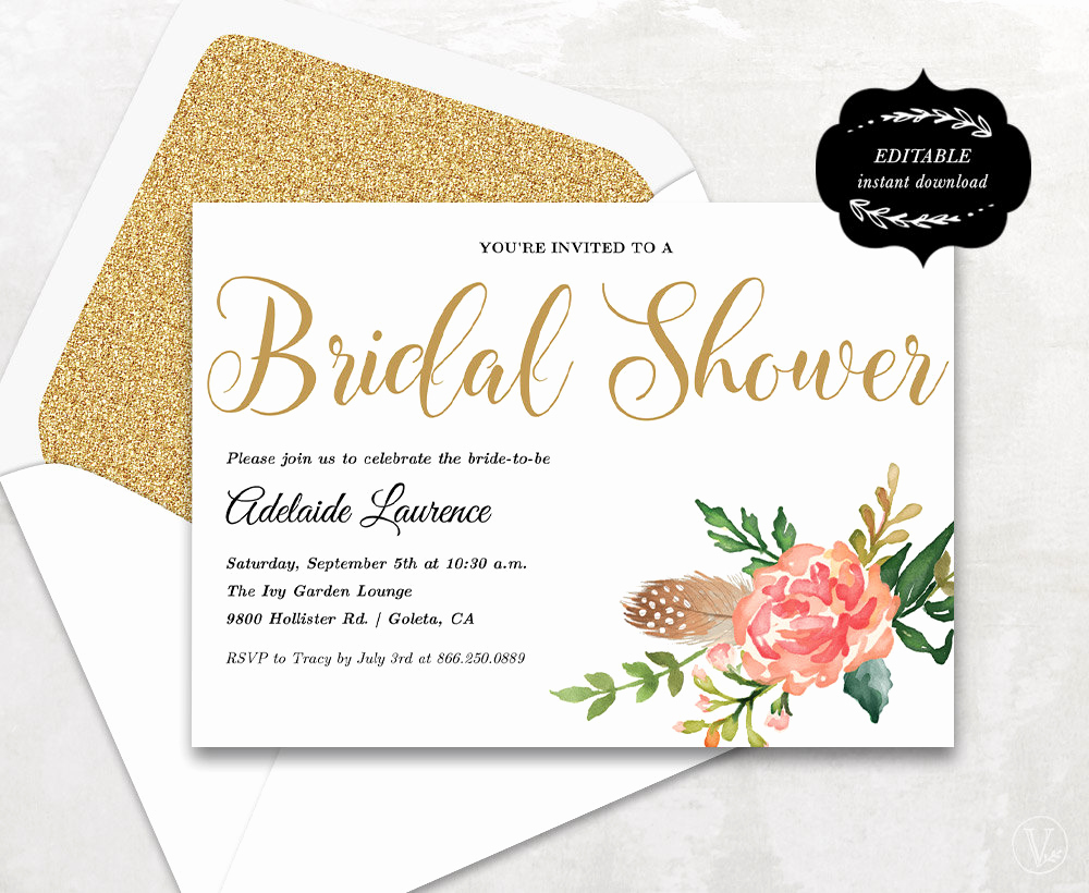 Bridal Shower Invitation Template Elegant Bridal Shower Template Printable Bridal Shower Invitation