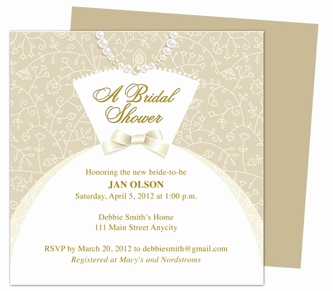 Bridal Shower Invitation Template Elegant Dress Bridal Shower Invitation Templates Printable Diy