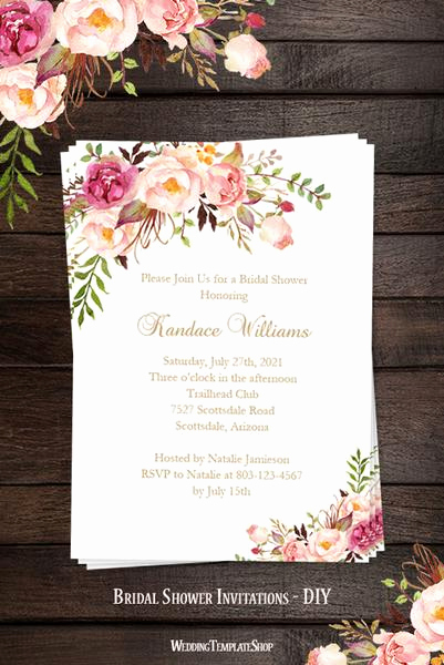 Bridal Shower Invitation Template Free Beautiful Bridal Shower Invitation Template Romantic Blossoms