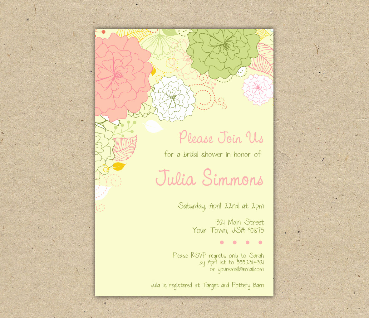 Bridal Shower Invitation Template Free Elegant Rustic Bridal Shower Invitation Templates