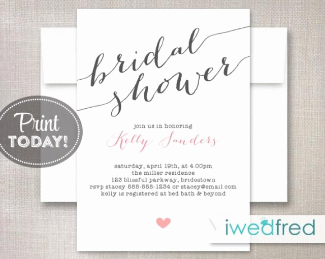 Bridal Shower Invitation Template Free Lovely Bridal Shower Invitation Bridal Shower Invitation