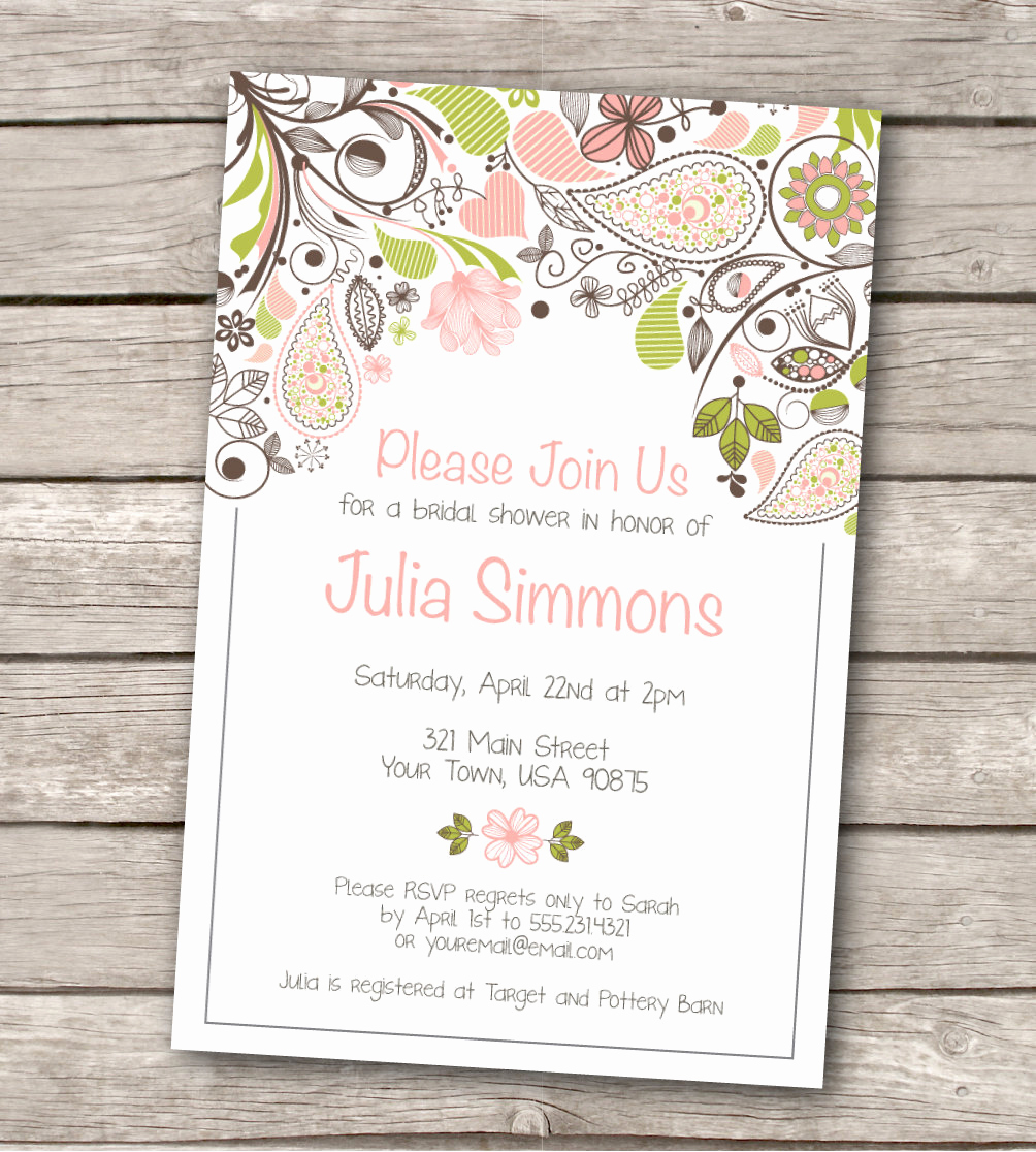 Bridal Shower Invitation Templates Fresh Bridal Shower Invitation Custom Printable by Westandpine