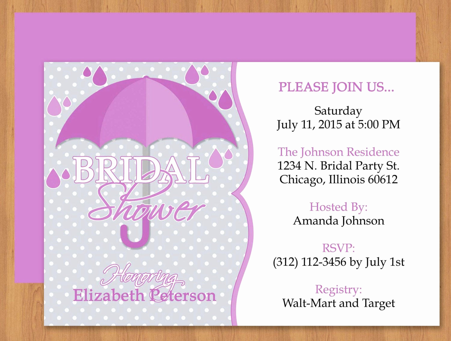 Bridal Shower Invitation Templates Inspirational Purple Umbrella Bridal Shower Invitation Editable Template